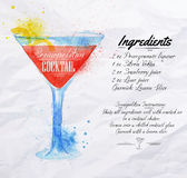 Cosmopolitan cocktails watercolor. Cosmopolitan cocktails drawn watercolor blots and stains with a spray, including recipes and ingredients on the background of Royalty Free Stock Photos