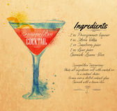 Cosmopolitan cocktails watercolor kraft. Cosmopolitan cocktails drawn watercolor blots and stains with a spray, including recipes and ingredients on the Royalty Free Stock Photography