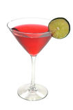 Cosmopolitan Drink, Lime, Isolated, Clipping Path. Red Cosmopolitan with lime slice isolated on white background with clipping path stock images