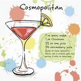 Cosmopolitan. Hand drawn illustration of cocktail. Stock Images