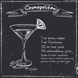 Cosmopolitan. Hand drawn illustration of cocktail. Stock Photography