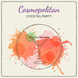 Cosmopolitan. Hand drawn vector illustration of cocktail. Colorful watercolor background Royalty Free Stock Image