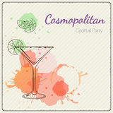 Cosmopolitan. Hand drawn vector illustration of cocktail. Colorful watercolor background Stock Photos