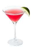 Cosmopolitan. Isolated cosmopolitan on a white background garnished with a lime Royalty Free Stock Photography