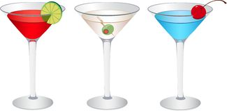 Cosmopolitan, Martini and Betty blue Royalty Free Stock Photos