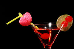 Cosmopolitan martini fresh Coctail isolated on black Stock Photography