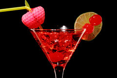 Cosmopolitan martini fresh Coctail isolated on black Royalty Free Stock Photography