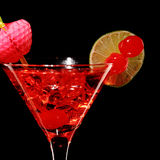 Cosmopolitan martini fresh Coctail isolated on black Royalty Free Stock Image