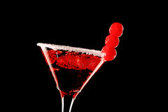 Cosmopolitan martini fresh Coctail isolated on black Royalty Free Stock Images