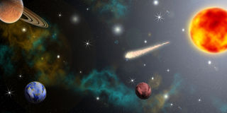 Cosmos. Planets of the solar system and flying comet Stock Photo