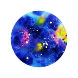 Cosmos abstrato da aquarela redondo foto de stock