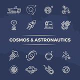 Cosmos and astronautics line icons - planets, space, rockets line concept stock illustration