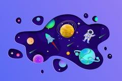 Cosmos avec les planètes et l'astronaute à l'intérieur de la forme coupés du style plat de papier illustration stock