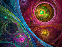 Cosmos background - abstract digitally generated image. Sci-fi, cosmos or mystic background - abstract computer-generated image. Bright chaos circles and curves Royalty Free Stock Photo