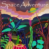 Cosmos banner with fantastic planet and slogan `Space Adventure`. Vector illustration. Retro futurism. Cosmos banner with fantastic planet and slogan `Space Royalty Free Stock Photo