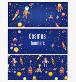 Cosmos banners set for kids with spaceships, austronaut, stars, planets. Vector illustration stock image