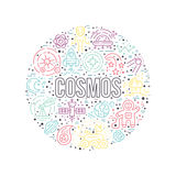 Cosmos Circle Concept. Cosmos clipart element - a lot of different space and universe elements arranged in a circle with cosmos sign. Vector line art for book Royalty Free Stock Photo