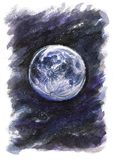 Cosmos da aquarela da fantasia da lua fotos de stock