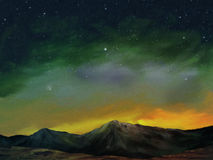 Cosmos - Digital Landscape Painting. Digital landscape painting of a star filled night sky above a range of rocky shadow covered mountains Royalty Free Stock Photo