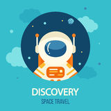Cosmos discovery poster, exploration and travel theme. Astronaut in outer space, flat style, vector illustration Royalty Free Stock Photo