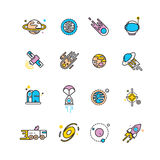 Cosmos exploration flat icons with planets and rockets. Exploration interstellar and icon set universe vehicle for exploration space. Vector illustration vector illustration