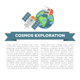 Cosmos exploration informative poster with earth model and sample text. Cosmos exploration informative poster with earth model, orbital satellites and sample Royalty Free Stock Photography