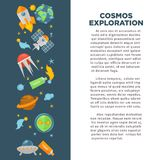 Cosmos exploration poster of vector universe space. Cosmos exploration and universe space research poster for astronomy or science education. Vector design of stock illustration