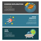 Cosmos exploration and galaxy space research flat vector banners templates. Cosmos exploration and space research flat banners templates. Vector design of Stock Photography
