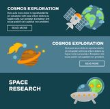 Cosmos exploration and space research promotional posters set. Cosmos exploration and space research promotional Internet posters set with big planets, modern stock illustration