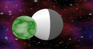 Cosmos fiction video with silver UFO and green flying planet stock video
