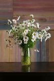 Cosmos Flowers Bouquet in Glass Vase Bunch on Dark Background Stock Photos