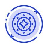 Cosmos, galáxia, brilho, espaço, estrela, linha pontilhada azul linha ícone do universo ilustração stock