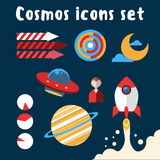 Cosmos icons set with black background Royalty Free Stock Images