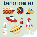Cosmos icons set with black background Stock Image