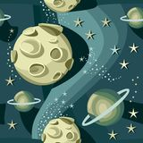 Cosmos. Illustration of fantasy cosmic starry night with big planets Royalty Free Stock Photo
