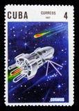 Cosmos, 10o aniversário do lançamento do primeiro serie do satélite artificial, cerca de 1967 Foto de Stock Royalty Free