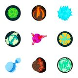 Cosmos planet icons set, cartoon style Royalty Free Stock Photography