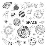 Cosmos, planets.Collection of vector hand drawings Royalty Free Stock Photo