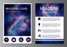 Cosmos polygonal brochure design template Royalty Free Stock Images