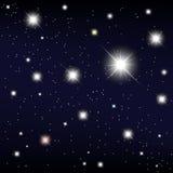 Cosmos. protagonizar no céu noturno. Vector a ilustração Foto de Stock Royalty Free