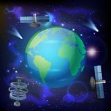 Artificial Satellites Earth Composition Royalty Free Stock Image