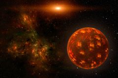 Cosmos scene with red planet, nebula and stars in space. View on illuminated unknown young burning planet deep in outer space and fiery nebula with stars in the Royalty Free Stock Photos