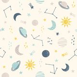 Cosmos. Seamless childish pattern with sun, moon, planets and star. Vector illustration. Use for textile, print, surface design, fashion kids wear stock illustration