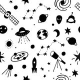 Cosmos space astronomy simple seamless pattern. Endless galaxy inspiration graphic design typography element. Hand drawn Cute simple vector background. Earth Royalty Free Stock Images