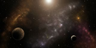 Cosmos, stars , nebulas and planets. Sci-Fi background Royalty Free Stock Photo