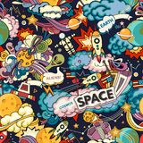 Cosmos Seamless Pattern. Cosmos vector background. Cartoon seamless background. Seamless pattern with cartoon space rockets, cosmonaut, planets, stars stock illustration