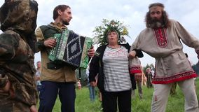 Cosmos Village, Almaty Province, Kazakhstan - 16 August 2015: The festival of ethnic music Forey, a lot of people stock footage