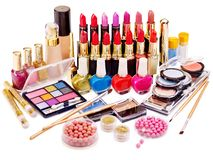 Cosméticos decorativos para el maquillaje. Fotos de archivo libres de regalías