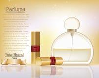 Cosméticos del maquillaje y plantilla de los anuncios del perfume Maqueta de los lápices labiales del oro con el fondo chispeante Fotos de archivo