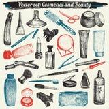 Cosméticos e vetor ajustado garatujas da beleza Imagem de Stock
